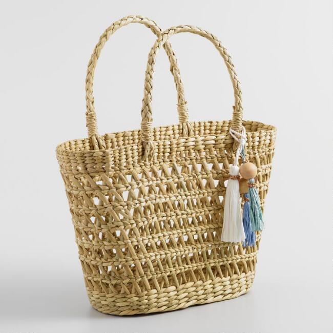Open Weave Natural Straw Tassel Tote Bag