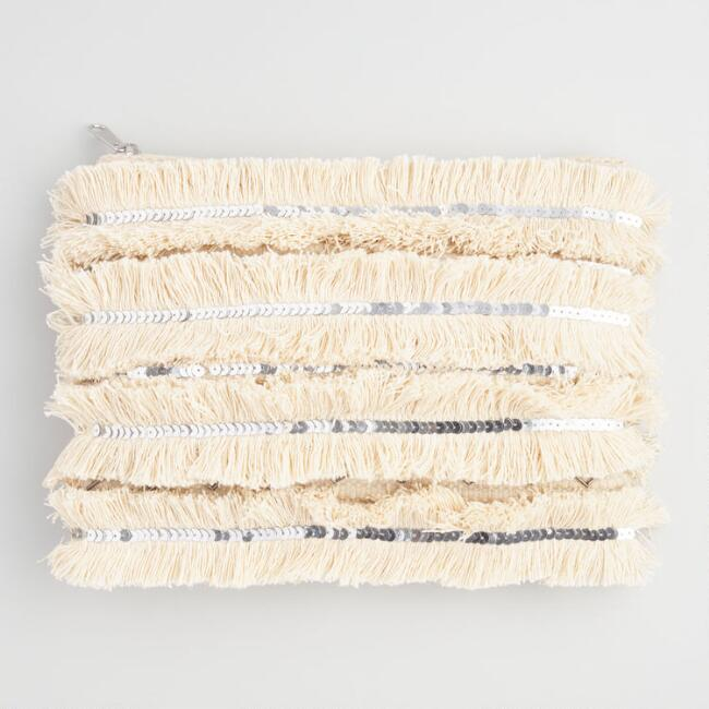Ivory And Silver Fringe Pouch