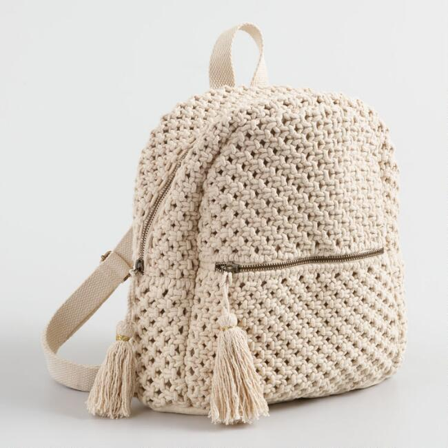 Ivory Macrame Backpack