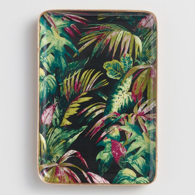Dark Tropical Palms Trinket Dish