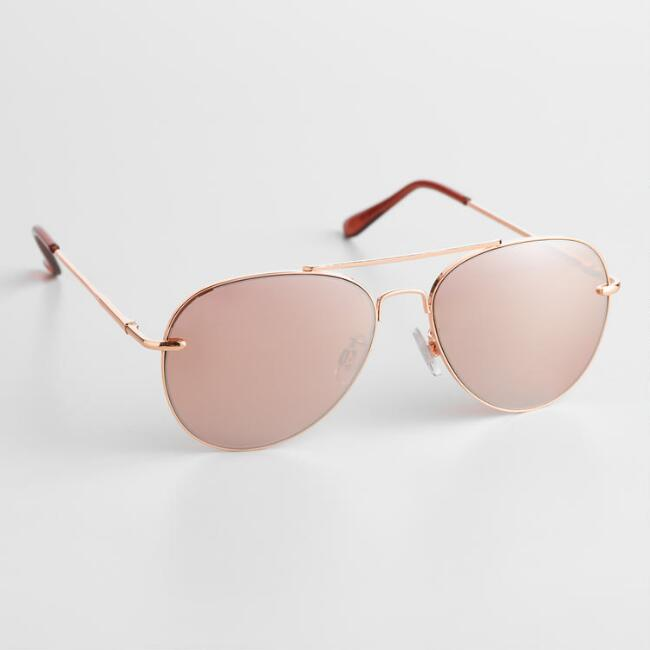 Rose Gold Aviator Charlize Sunglasses