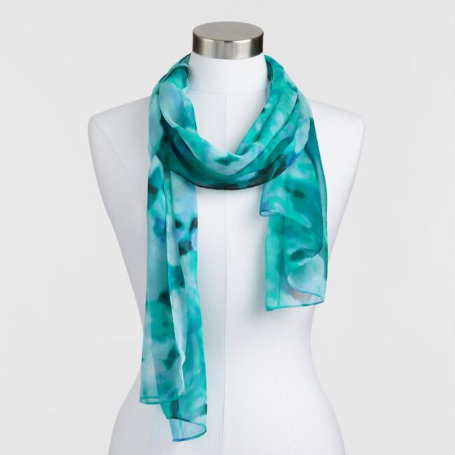 Blue Floral Watercolor Scarf