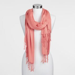 Coral Dobby Pashmina Style Scarf