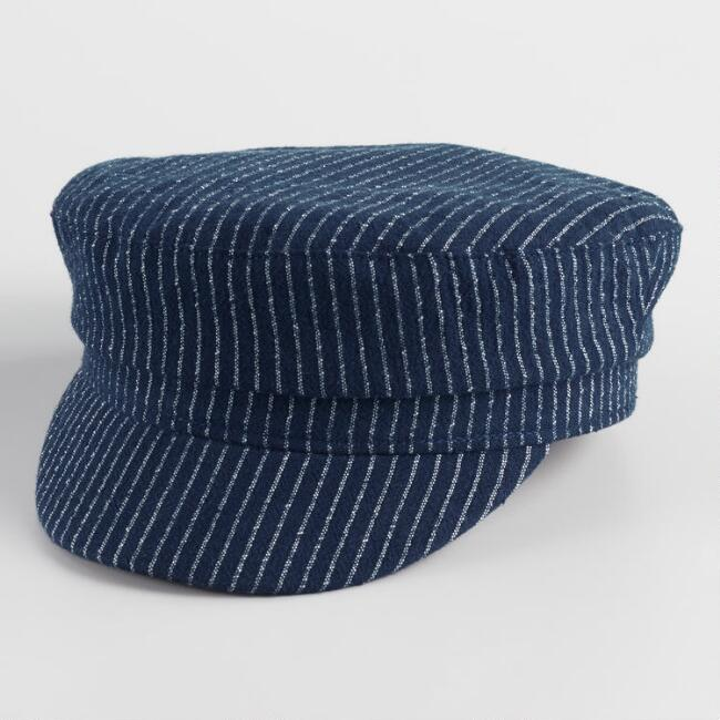 Navy Stripe Newsboy Hat