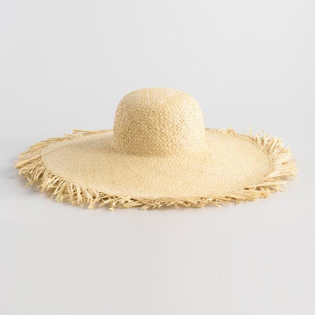 Natural Raw Edge Wide Brim Sun Hat