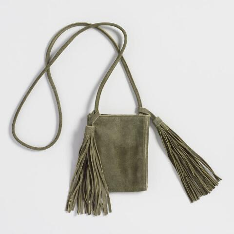 c2657bbd8c1 Small Olive Green Suede Crossbody Bag. Previous. v3. v1