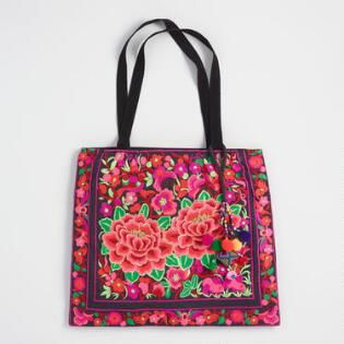 Unique boho bags totes world market red and fuschia floral embroidered tote bag gumiabroncs Choice Image