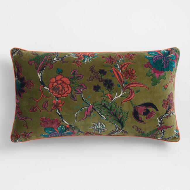 Green Floral Velvet Lumbar Pillow