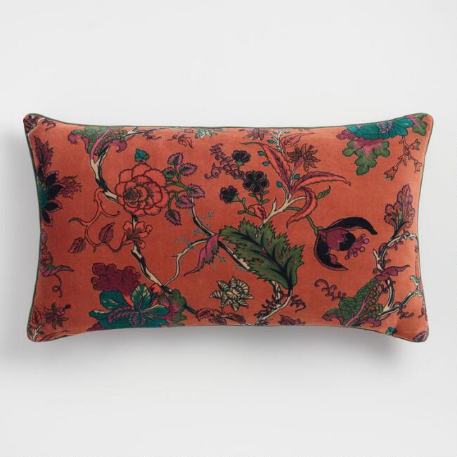 Rust Floral Velvet Lumbar Pillow