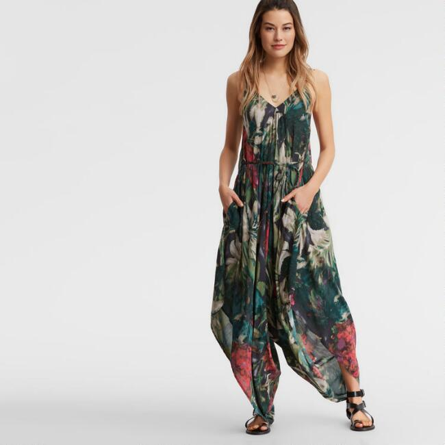 Green Floral Tropical Jumpsuit with Pockets