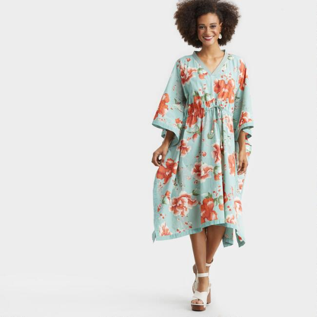 Coral and Aqua Floral Lotus Kaftan Dress