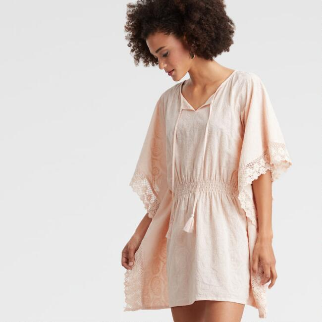 Blush Pink Paisley Embroidered Thalia Kaftan Dress