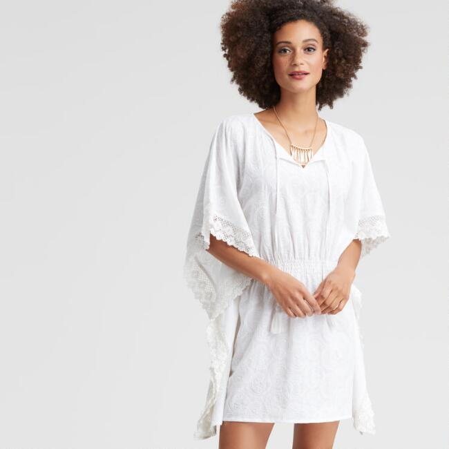 White Paisley Embroidered Thalia Kaftan Dress