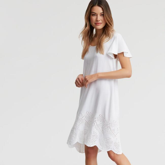 White Embroidered Lana Dress