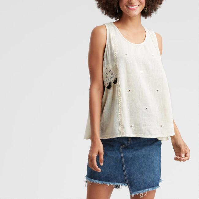 Ivory Embroidered Beth Tank Top