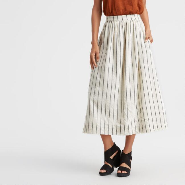 Ivory and Black Striped Farina Skirt with Pockets