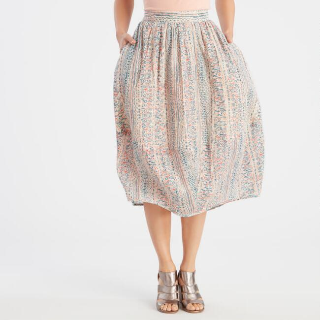 Blush Pink Printed Bubble Skirt with Pockets