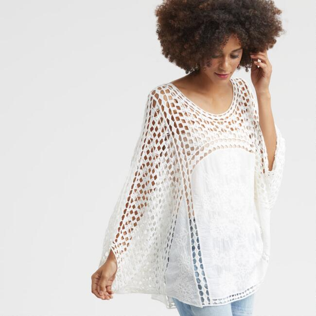 White Crochet Cameron Top