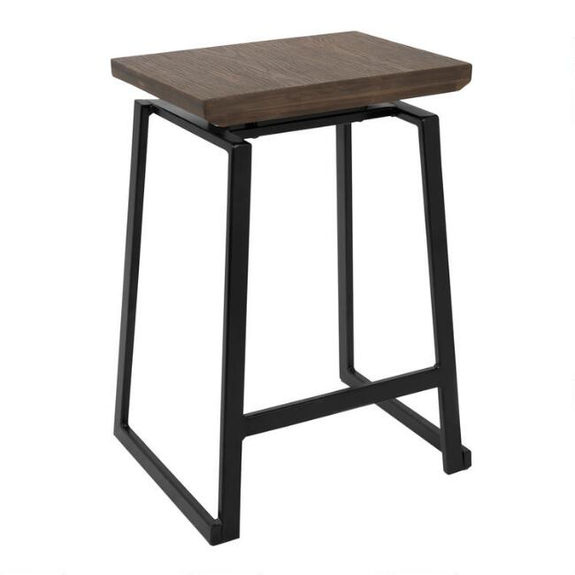 Metal and Wood Matthias Counter Stools Set of 2