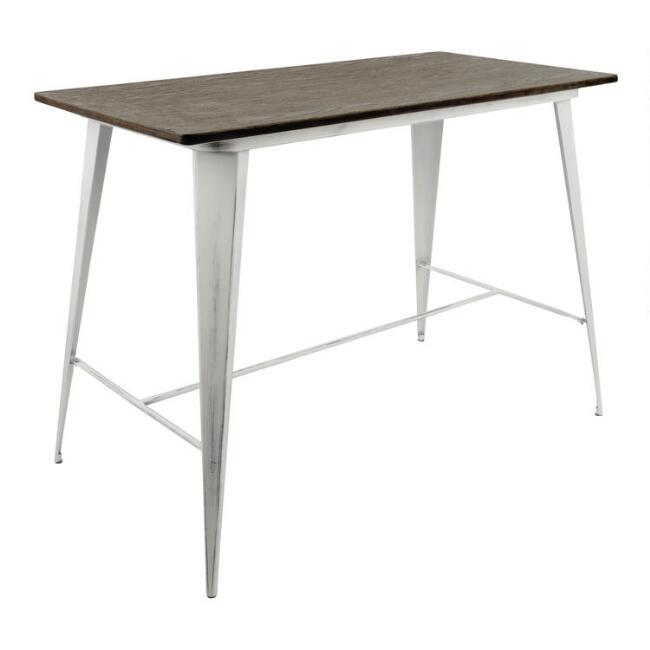 White and Espresso Ridgeby Counter Height Dining Table