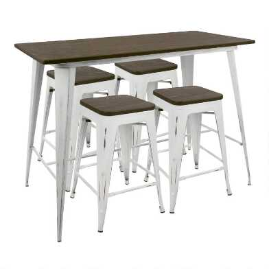 White and Espresso Ridgeby Counter Height Dining Collection