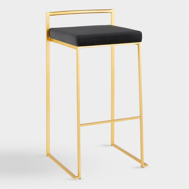 Gold Fiona Barstool With Cushion Set Of 2