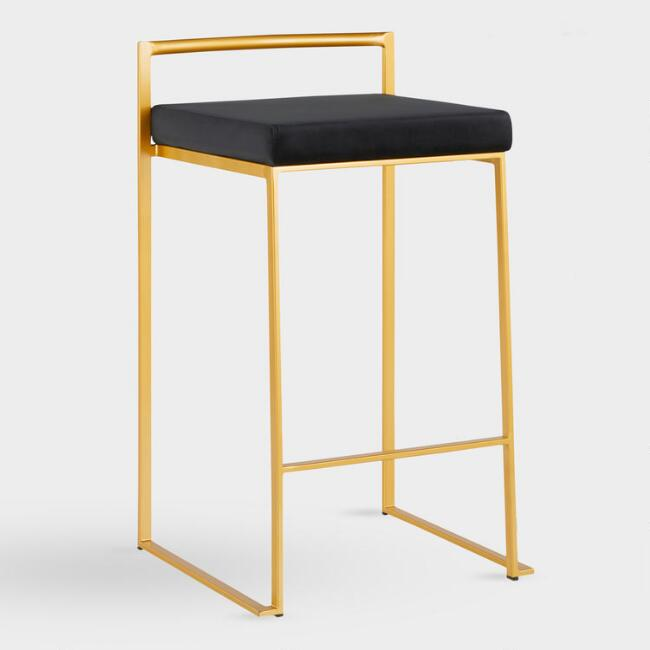Gold Fiona Counter Stool with Blue Cushion Set of 2
