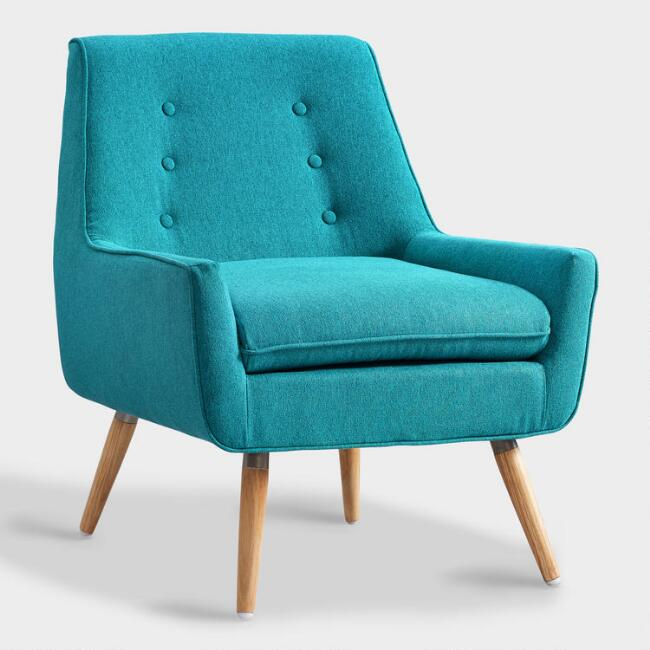 Turquoise Flannel Brooks Upholstered Armchair