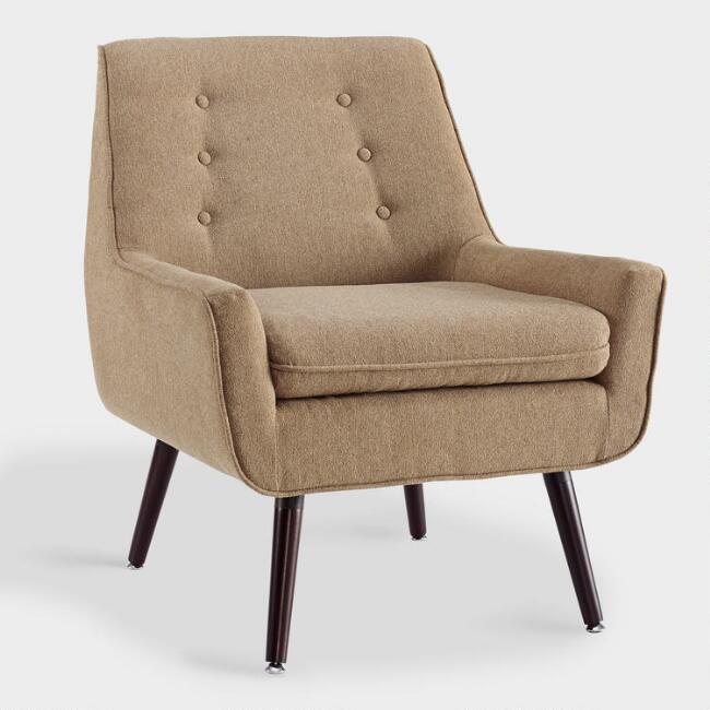 Cafe Brown Flannel Brooks Upholstered Chair