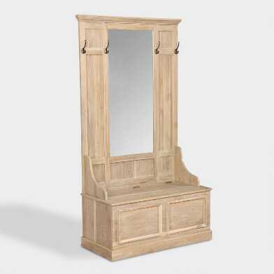 Washed Wood Camino Hall Tree Bench with Mirror