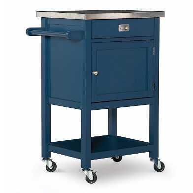 Navy Wood and Stainless Steel Perth Kitchen Cart