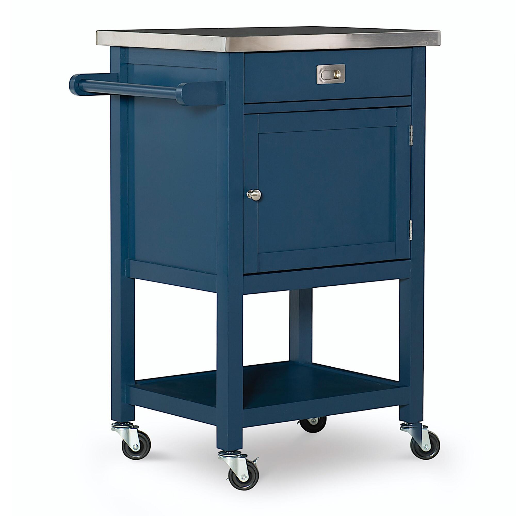 Navy Wood and Stainless Steel Perth Kitchen Cart by World Market