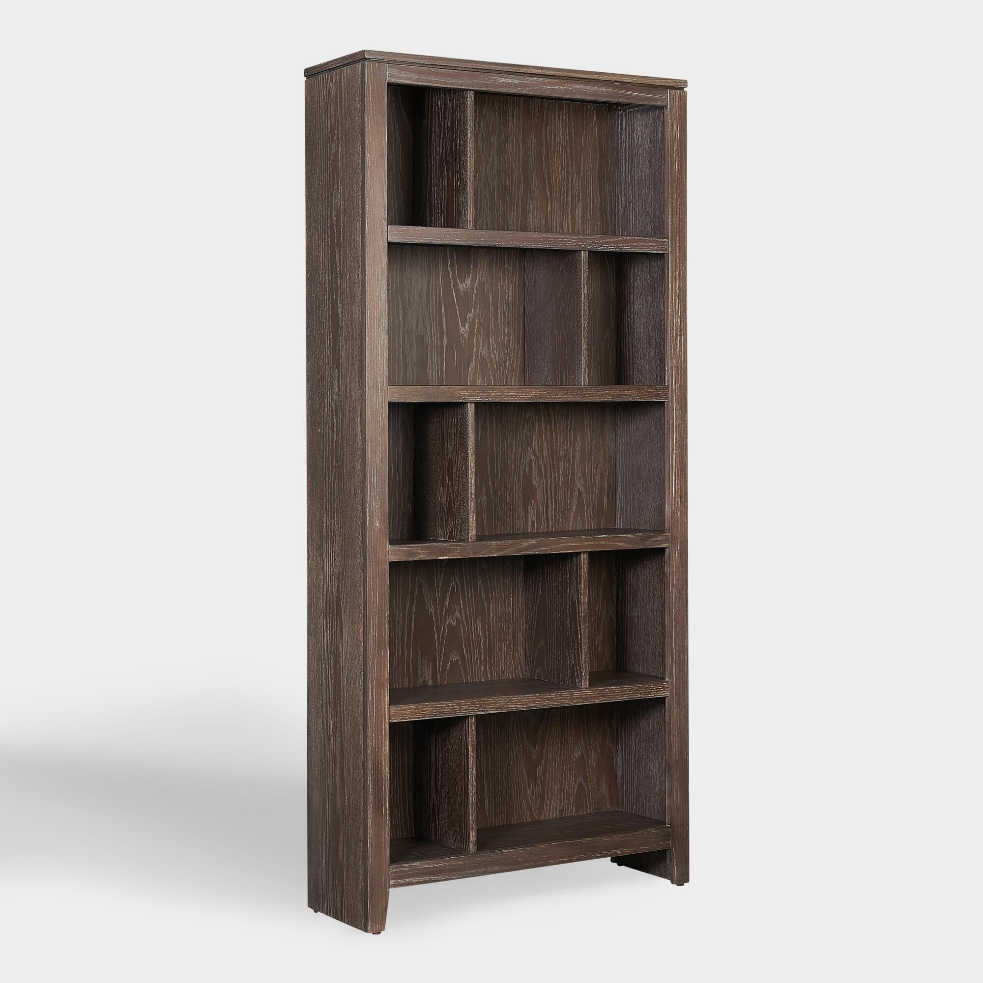 Large Rustic Gray Wood Oxford Bookshelf by World Market