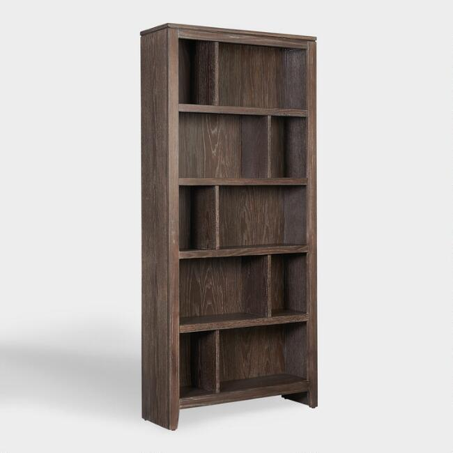 Large Rustic Gray Wood Oxford Bookshelf