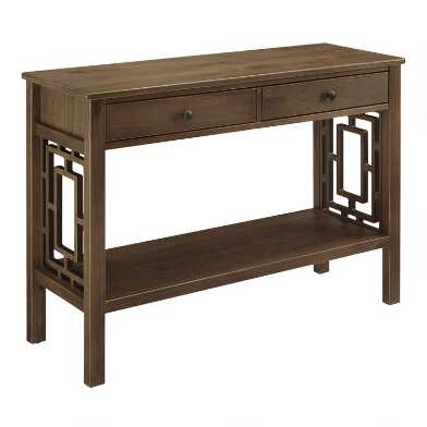 Walnut Brown Wood Jefferson Console Table