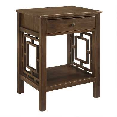 Walnut Brown Wood Jefferson Accent Table with Drawer