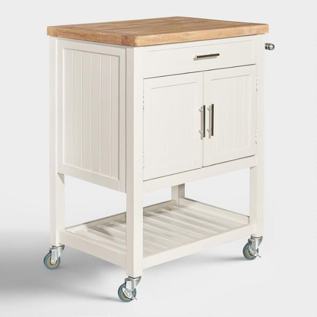 White Wood and Butcher Block Jannina Kitchen Cart