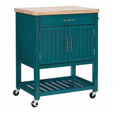 Teal Wood and Butcher Block Jannina Kitchen Cart