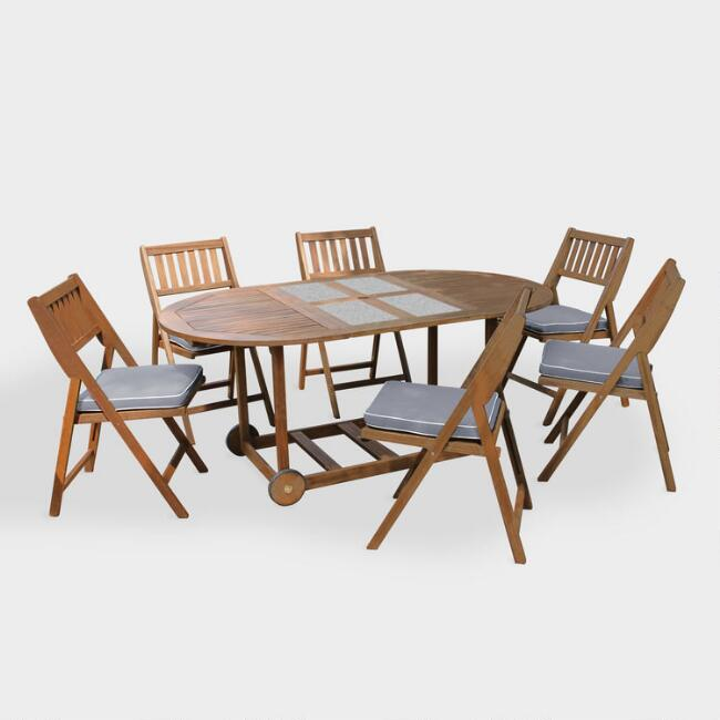 Oval Wood & Granite Lira 7 Piece Folding Outdoor Dining Set