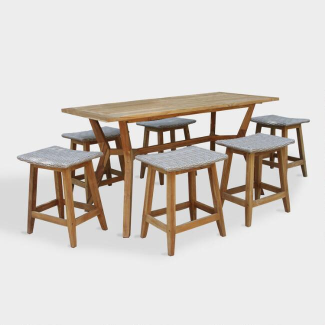 Teak Wood Nash Outdoor Counter Height Dining Collection