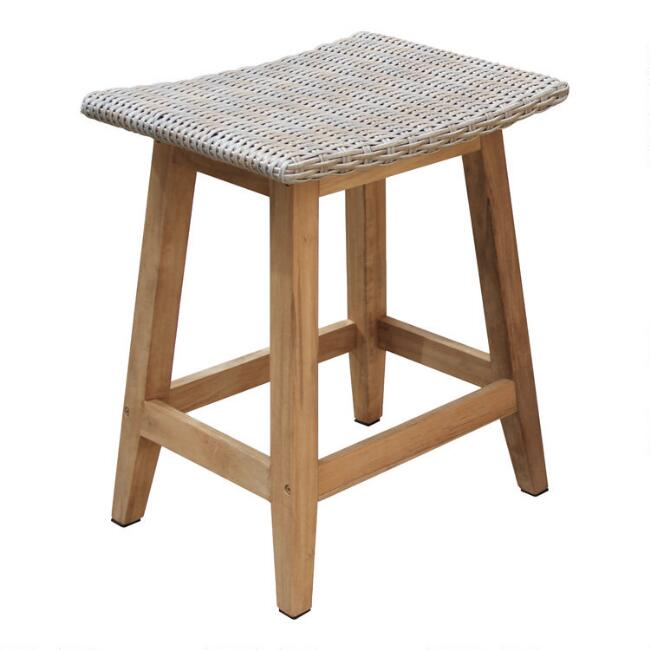 Teak Wood Nash Outdoor Counter Height Stools Set of 2