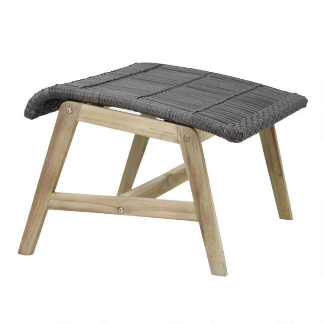 Gray All Weather and Teak Hakui Outdoor Ottoman Set Of 2