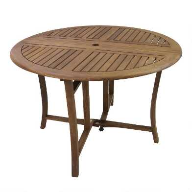4ft Round Eucalyptus Danner Folding Outdoor Dining Table