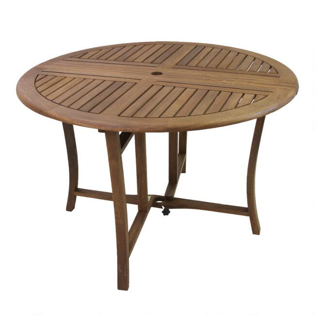 Round Wood Danner Folding Outdoor Dining Table