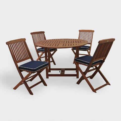 Pleasing Round Wood Lira 5 Piece Folding Outdoor Dining Set Interior Design Ideas Tzicisoteloinfo