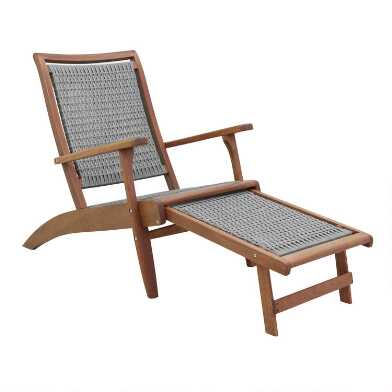 Gray All Weather Wicker and Wood Galena Outdoor Lounger