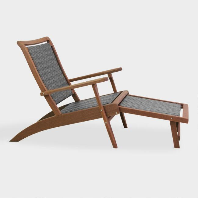 Brown All Weather Wicker and Wood Galena Outdoor Lounger