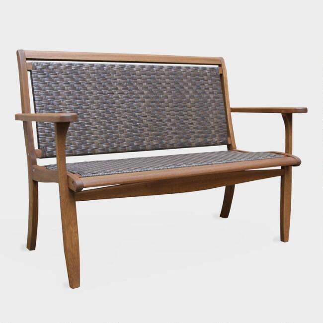 Brown All Weather Wicker and Wood Galena Outdoor Bench