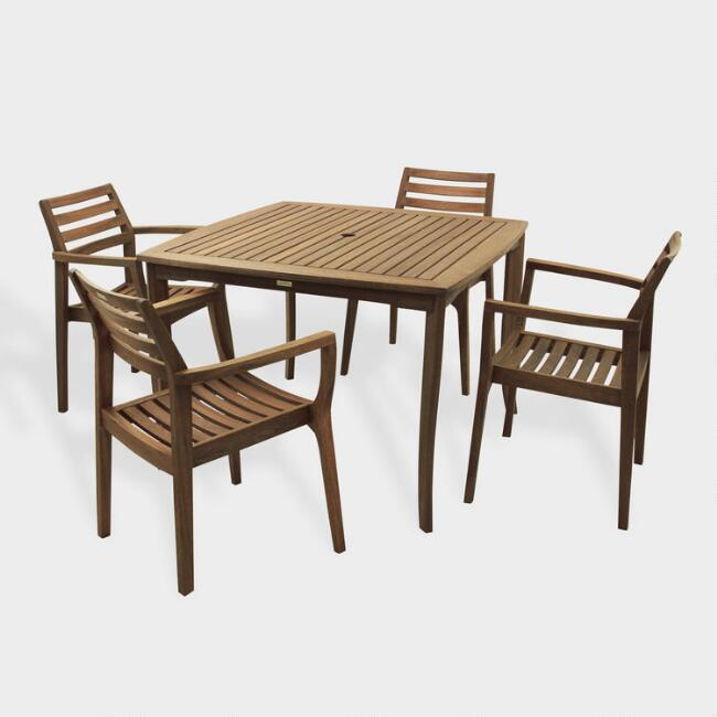 Square Wood Danner Outdoor Dining Collection World Market - Square wood outdoor dining table