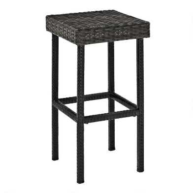 Gray All Weather Wicker Pinamar Outdoor Barstools Set of 2